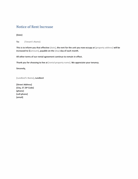 notice of rent increase form letter templates