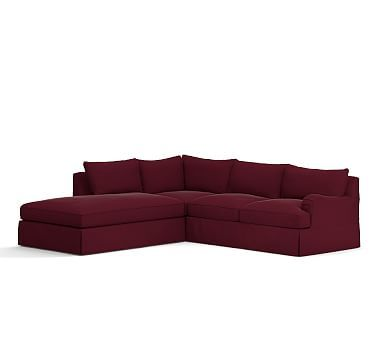 PB Comfort English Arm Right Arm 3-Piece Bumper Sectional Slipcover, Knife Edge, Vintage Velvet Claret