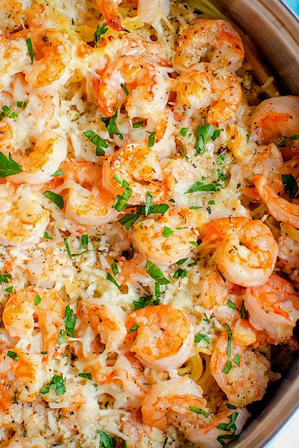 Garlic Parmesan Shrimp Scampi Pasta #shrimpscampi