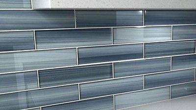 Deep Blue Gentle Grey Deep Ocean 3x12 Glass Tile Perfect for Kitchen Backsplash images