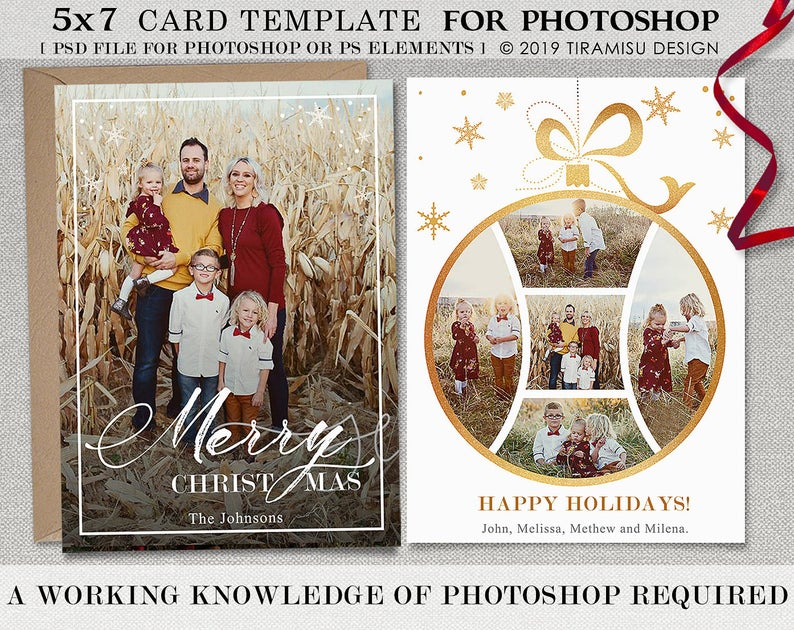 Christmas Card Template Holiday Card Template Adobe Etsy Christmas Card Template Holiday Card Template Christmas Cards Free