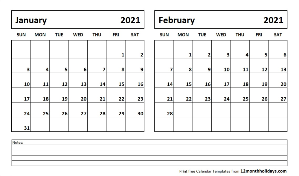 Print January February 2021 Calendar Template 2 Month Calendar In 2020 Monthly Calendar Printable Calendar Printables Calendar Template
