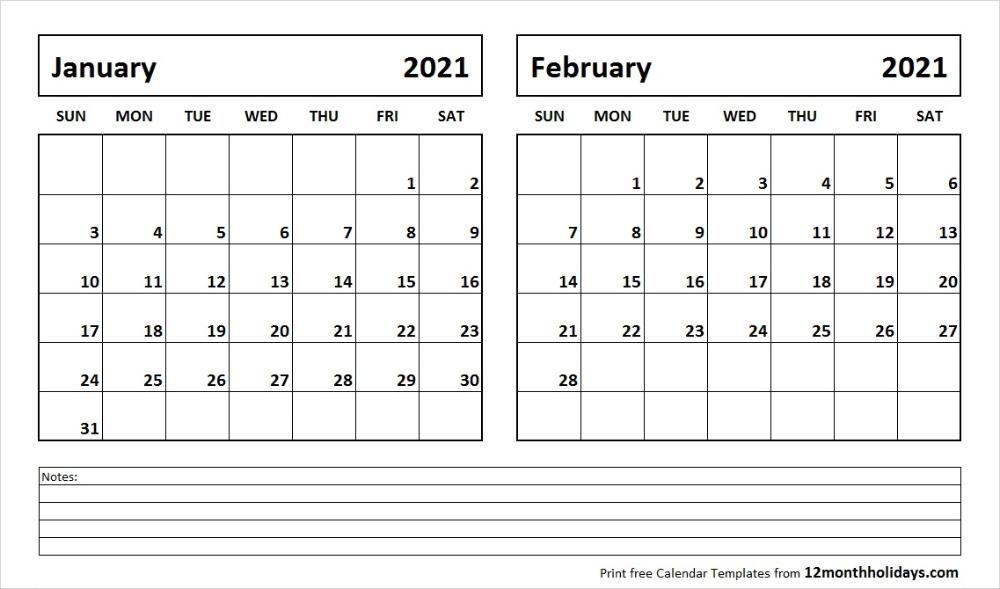 Print January February 2021 Calendar Template | 2 Month Calendar