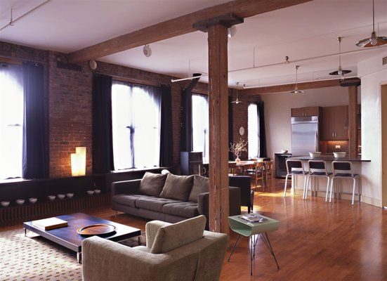 extraordinary new york loft living room | Loft Apartments New York | New York City Gut Renovated ...