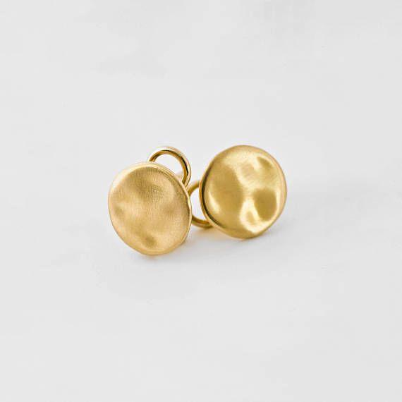 d82bcf388 Large Gold Earrings, Simple Gold Earrings Studs 18k Solid Gold, Gold Nugget  Earring, Large Stud Post