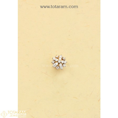 Diamond Nose Pins In 18k Gold Vvs Clarity E F Color Indian Diamond Jewelry Buy Online Indian Diamond Jewellery Diamond Nose Ring Nose Pin Indian