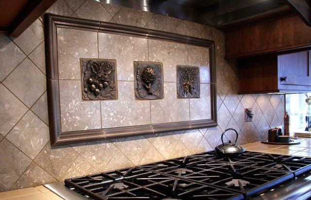 Kitchen Backsplash Mosaic And Metal Accent Mural From Metal Murals For Kitchen  Backsplash