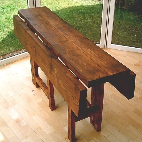 Rustic Fold Down Table Space Saving Drop Leaf Dining Table