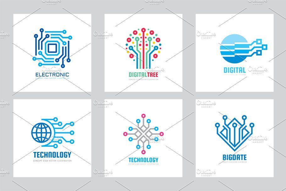 digital technology vector logo set in 2020 business cards creative templates logo set vector logo pinterest