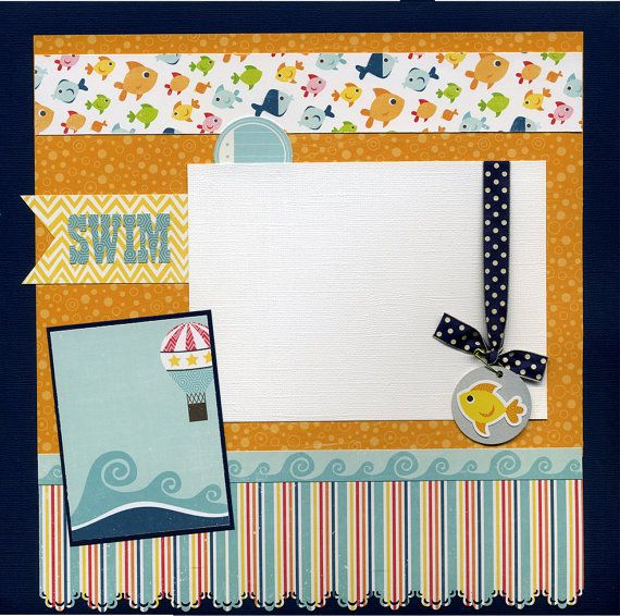 Swim 12x12 premade scrapbook page by susansscrapbookshack on etsy
