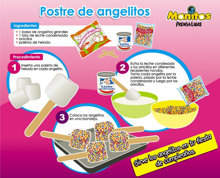 Angelitos cooking class pinterest tareas postres y for Como preparar comida para ninos