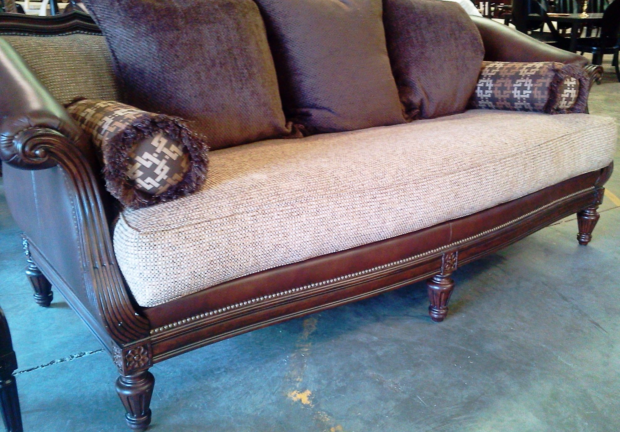 Genial Thomasville Hybrid Sorrento Sofa~Leather And Fabric!