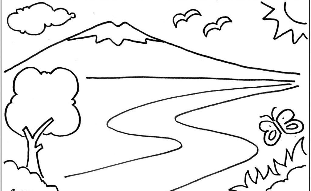 Gambar Pedesaan Di Pagi Hari Sketsa Buku Mewarnai Pemandangan