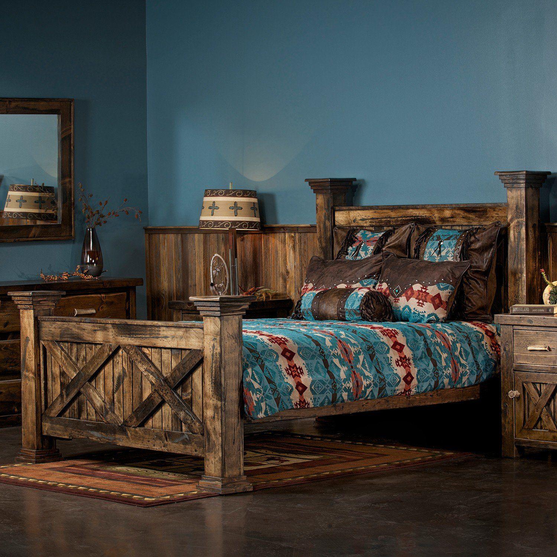 Rustic Barn Door Bed Rustic bedroom furniture, Bedroom