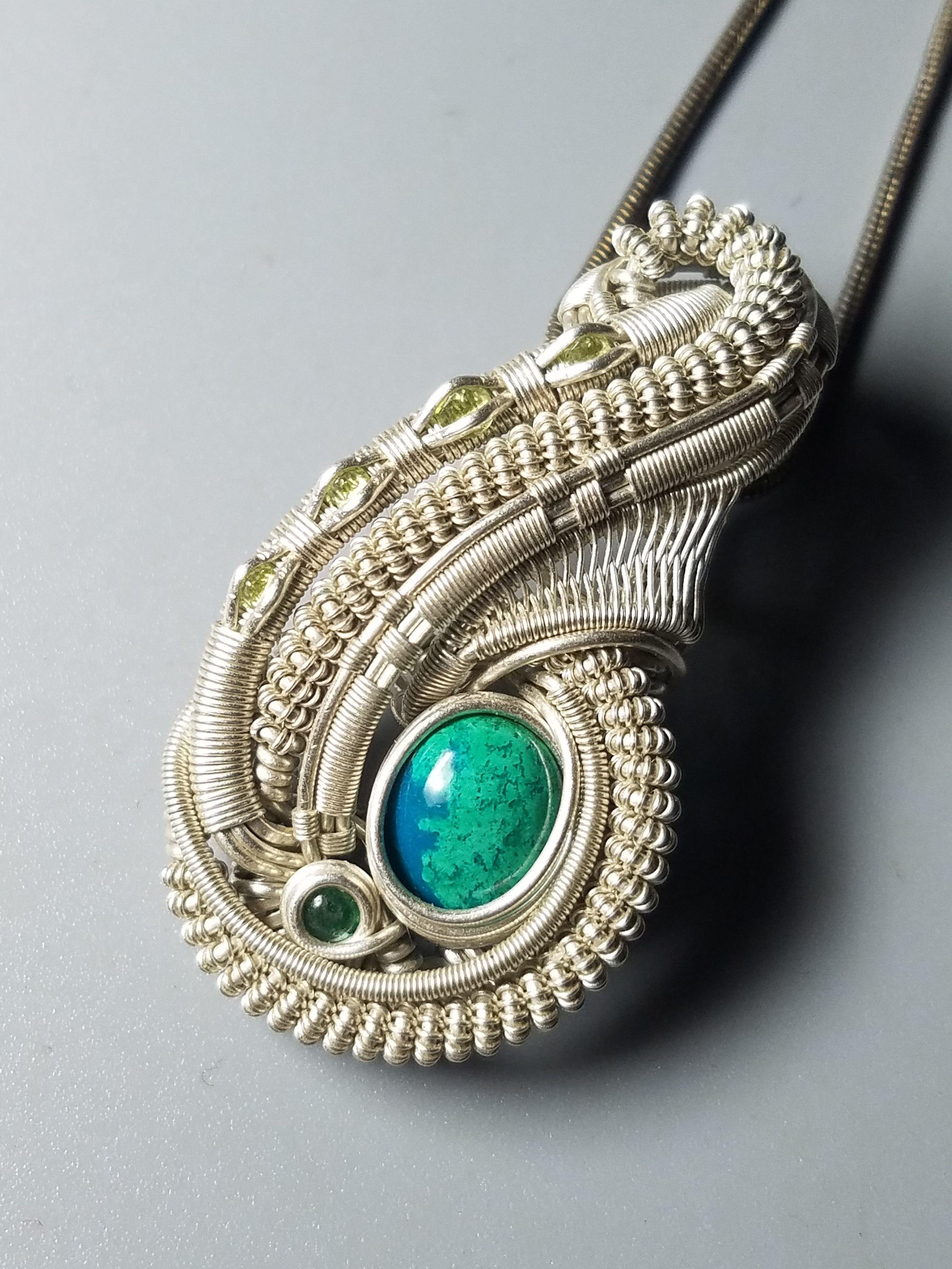 Chrysocolla peridot and green adventurine sterling silver pendant chrysocolla peridot and green adventurine sterling silver pendant mozeypictures Gallery