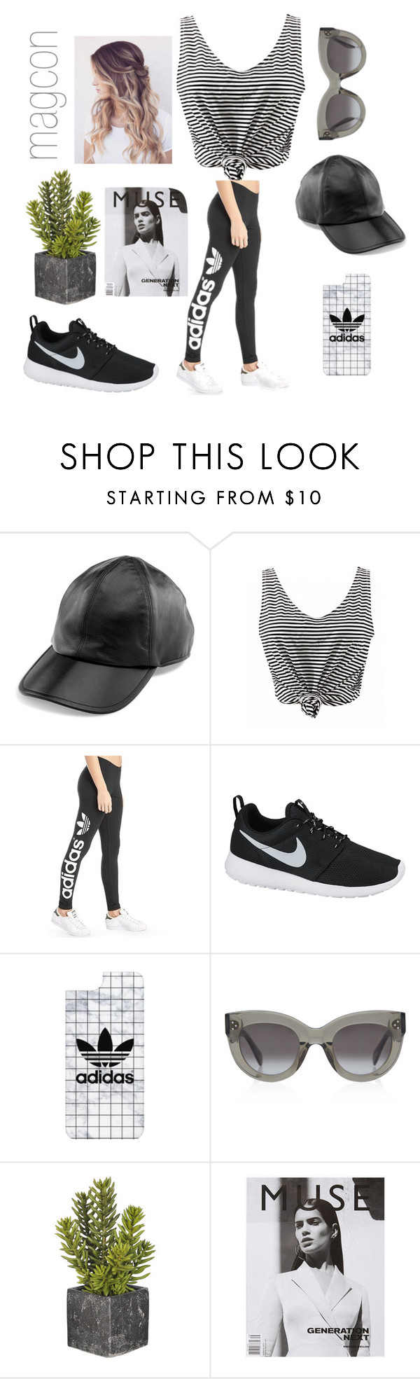 """Bri's Six Flags"" by emmagrayy ❤ liked on Polyvore featuring Yestadt Millinery, adidas Originals, NIKE, Casetify and CÉLINE"