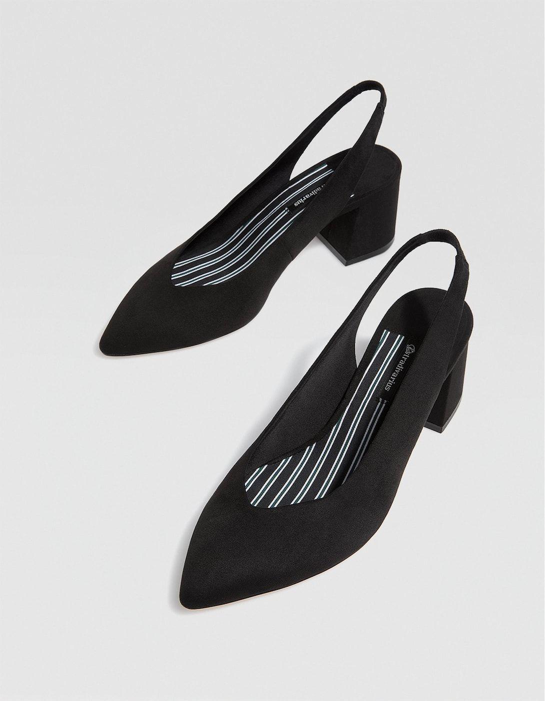 96278e043231f Black slingback mid-heel court shoes - All | Stradivarius United Kingdom