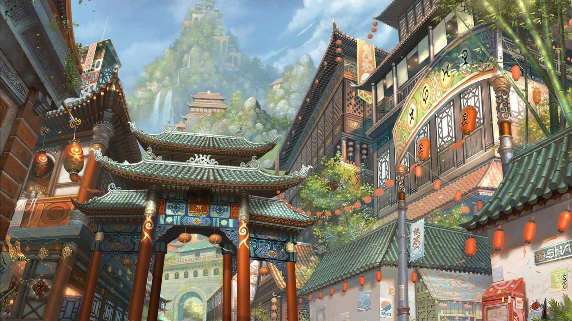 Japanese Painting Wallpapers Free For Hd Wallpaper Desktop 1920x1080 Px 561 16 Kb Concept Art Fantastique Paysages D Art Fantastique Paysage Asiatique