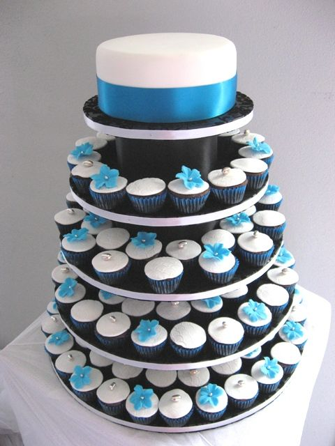 White Cupcake Tower For Small Wedding Cake