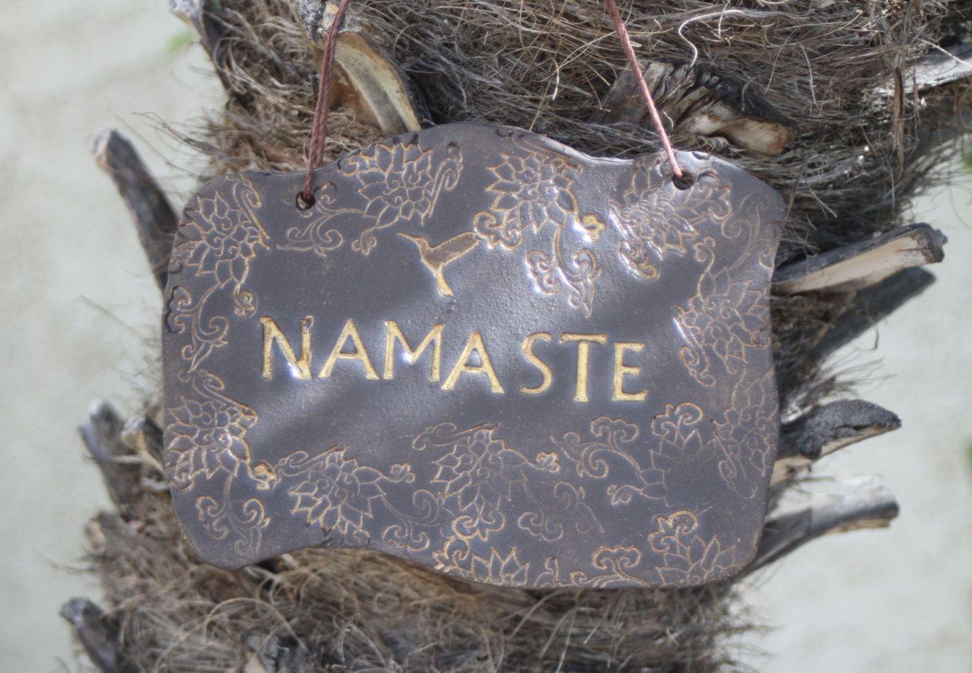 Namaste Sign Handmade Ceramic Hanging Sign Greeting Sign