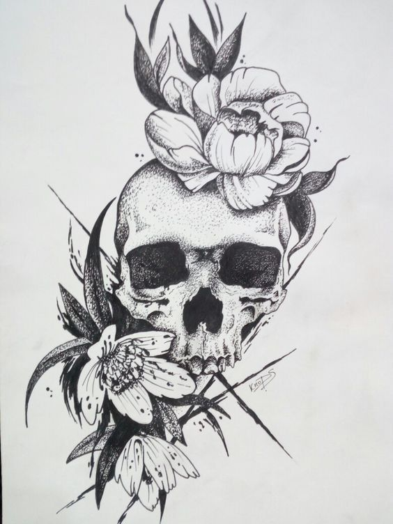 50 Skull Pencil Drawing Ideas Art Floral Skull Tattoos Skull Tattoo Flowers Skull Rose Tattoos