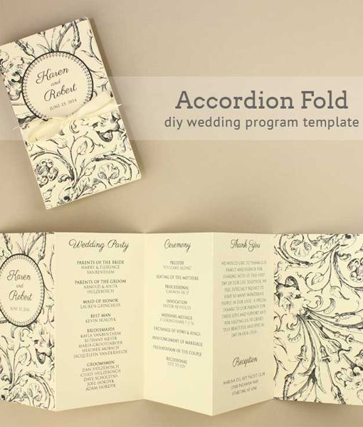 Harvest Scroll Accordion Fold Wedding Program in 2019 DIY Wedding