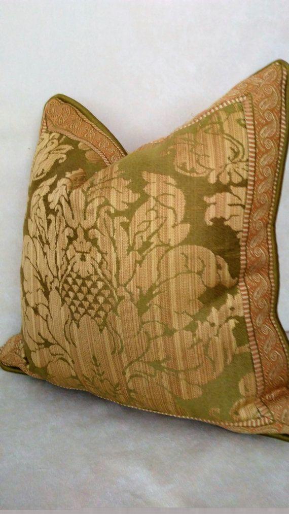 Gold Green Terracotta Damask Pillow Cover 40x40 Decorative Custom Terracotta Decorative Pillows