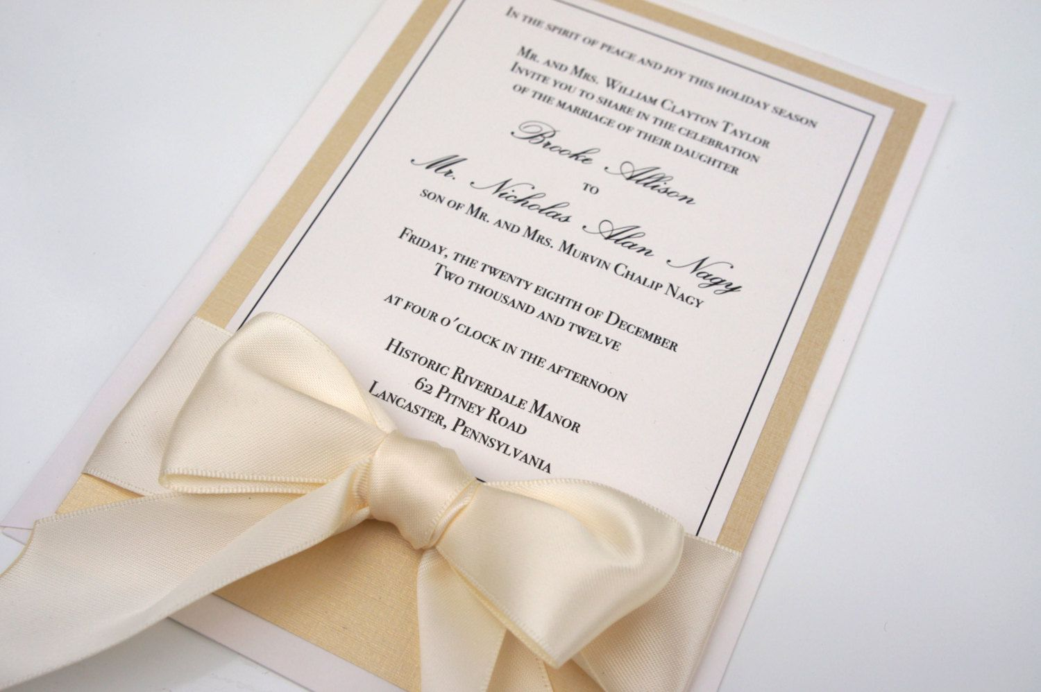gold champange invitation | Gold Ivory & Champagne Classic Ribbon ...