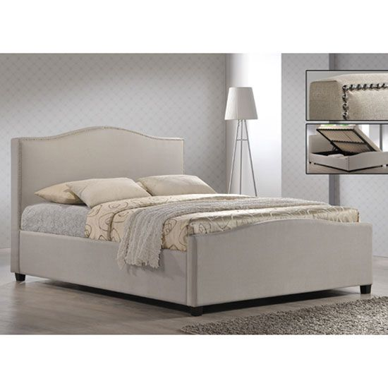 Sand Fabric King Size Ottoman Storage Bed