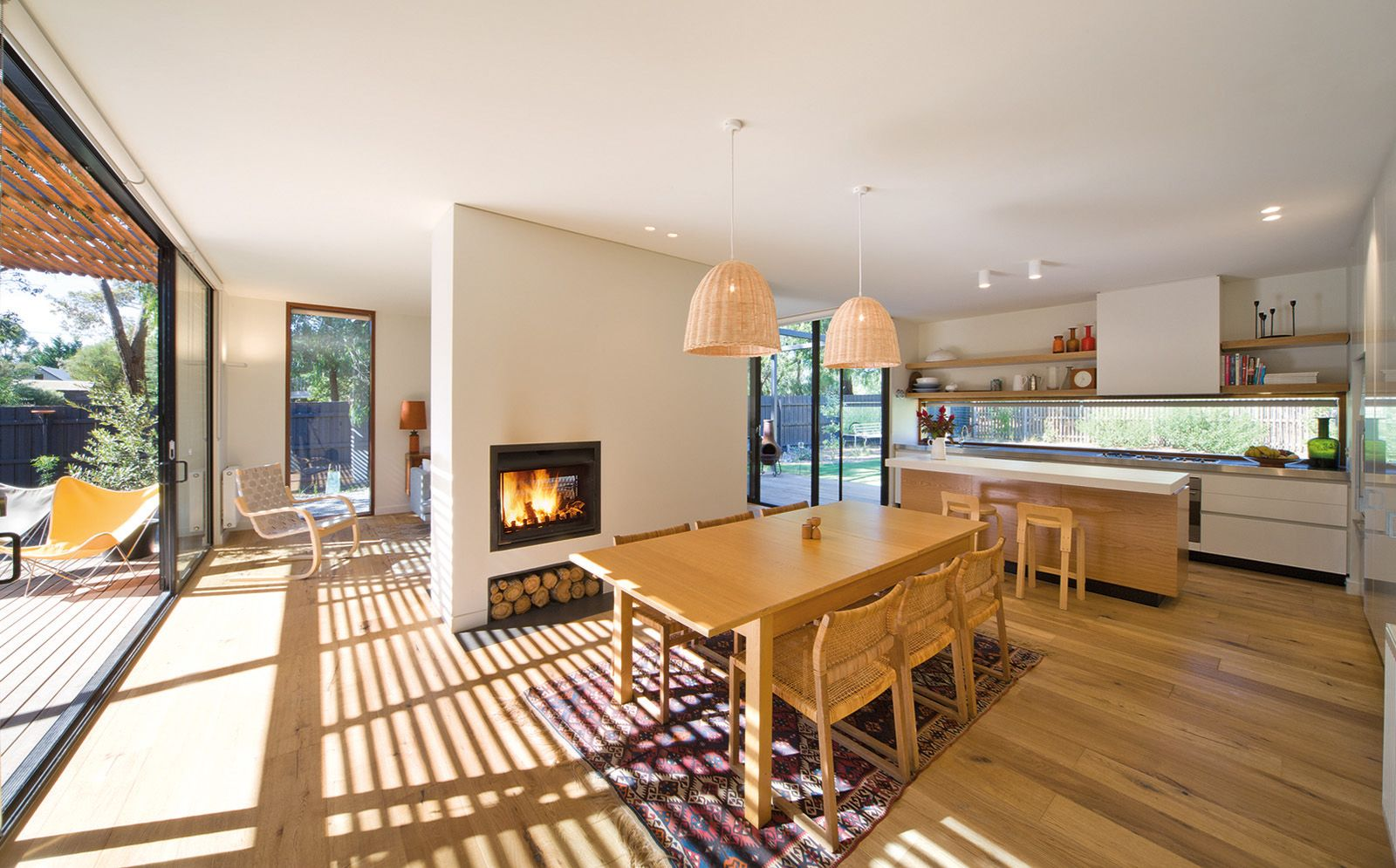Openplan living, dining and kitchen areas Modular homes