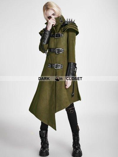 baa8241b4 Punk Rave Green Gothic Asymmetric Woolen Military Jacket for Women ...