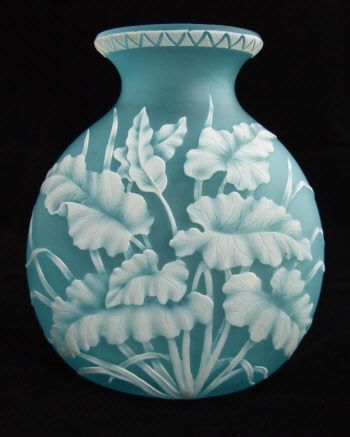 Thomas Webb Cameo glass vase with fern leaf design.