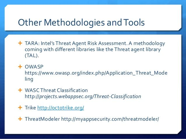 Other Methodologies And Tools  Tara IntelS Threat Agent Risk