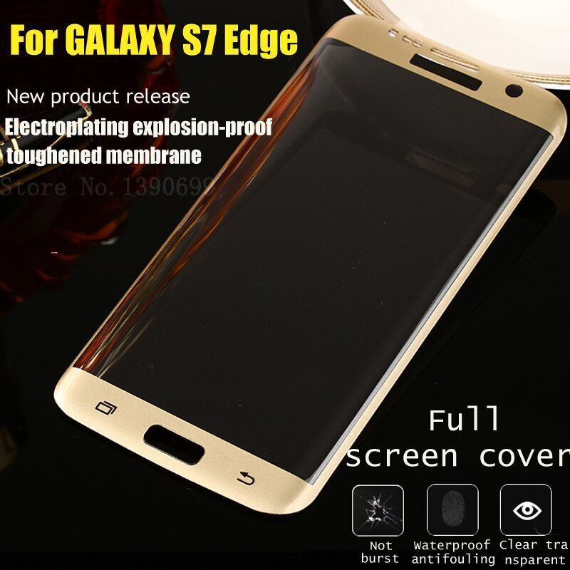 For Samsung Galaxy S7 edge G9350 Full Cover Curved 3D Tempered Glass Screen Protector for galaxy s7 edge+soft case free