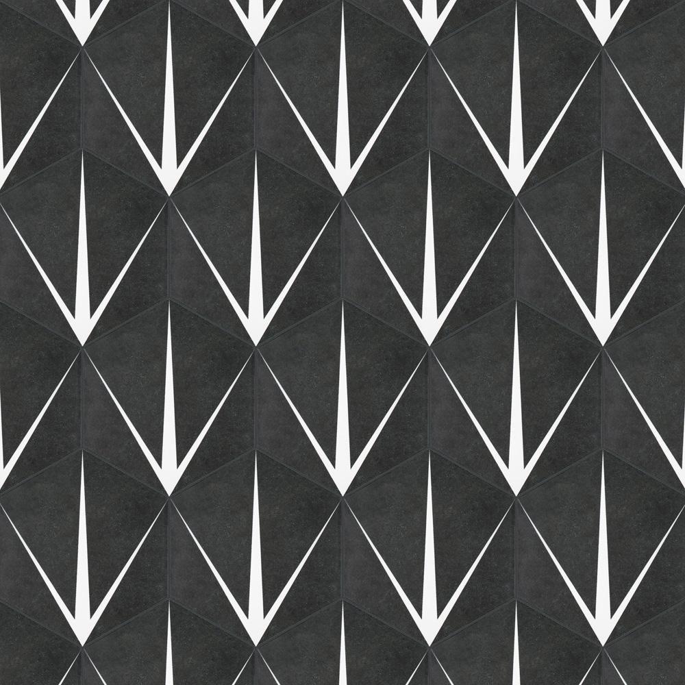 Merola Tile Trident Hex Nero Encaustic 8 5 8 In X 9 7 8 In