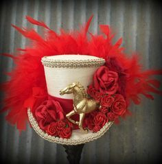 Kentucky Derby Hat, Kentucky Derby Fascinator, Horse Race hat, Red rose horse hat, Alice in Wonderland hat, Tea Party hat, Mad Hatter Hat by ChikiBird on Etsy https://www.etsy.com/listing/229623075/kentucky-derby-hat-kentucky-derby