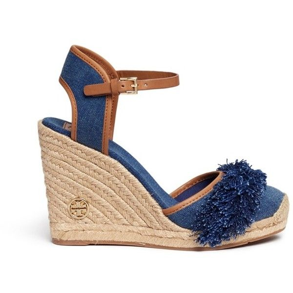 2aae68f97 Tory Burch 'Shaw' fringe denim espadrille wedges ($250) ❤ liked on Polyvore  featuring shoes, sandals, blue, bohemian sandals, wedge shoes, espadrille  ...