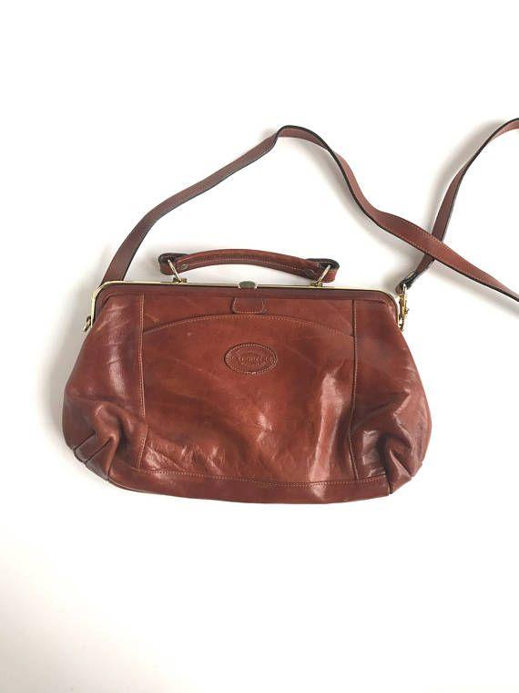 Vintage Oroton Australia Cognac Leather Handbag 70 s  f92bc284463fd