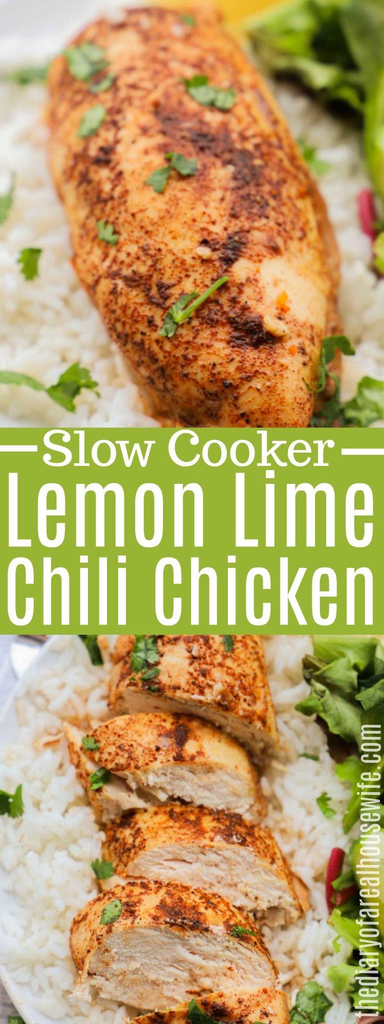 Easy and amazing Slow Cooker Lemon Lime Chili Chicken #slowcooker #chicken #slowcookerchicken