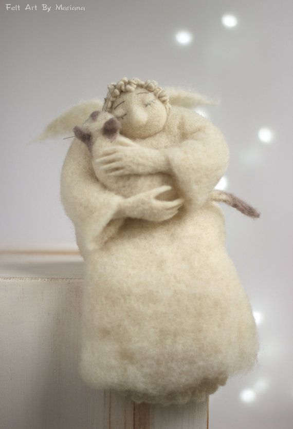 Photo of Needle Felted Angel – Dreamy Angel With A White Cat – Gift Idea – Art Doll – Christmas Home Decor – Guardian Angel – Cupid Angel – Handmade