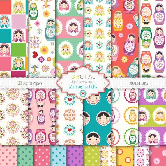 You can purchase----Matryoshka-Babushka-Russian Dolls Digital Paper Set - 22 High Quality Printable Digital Papers for scrapbooking, invites, cards -JPG/300 DPI