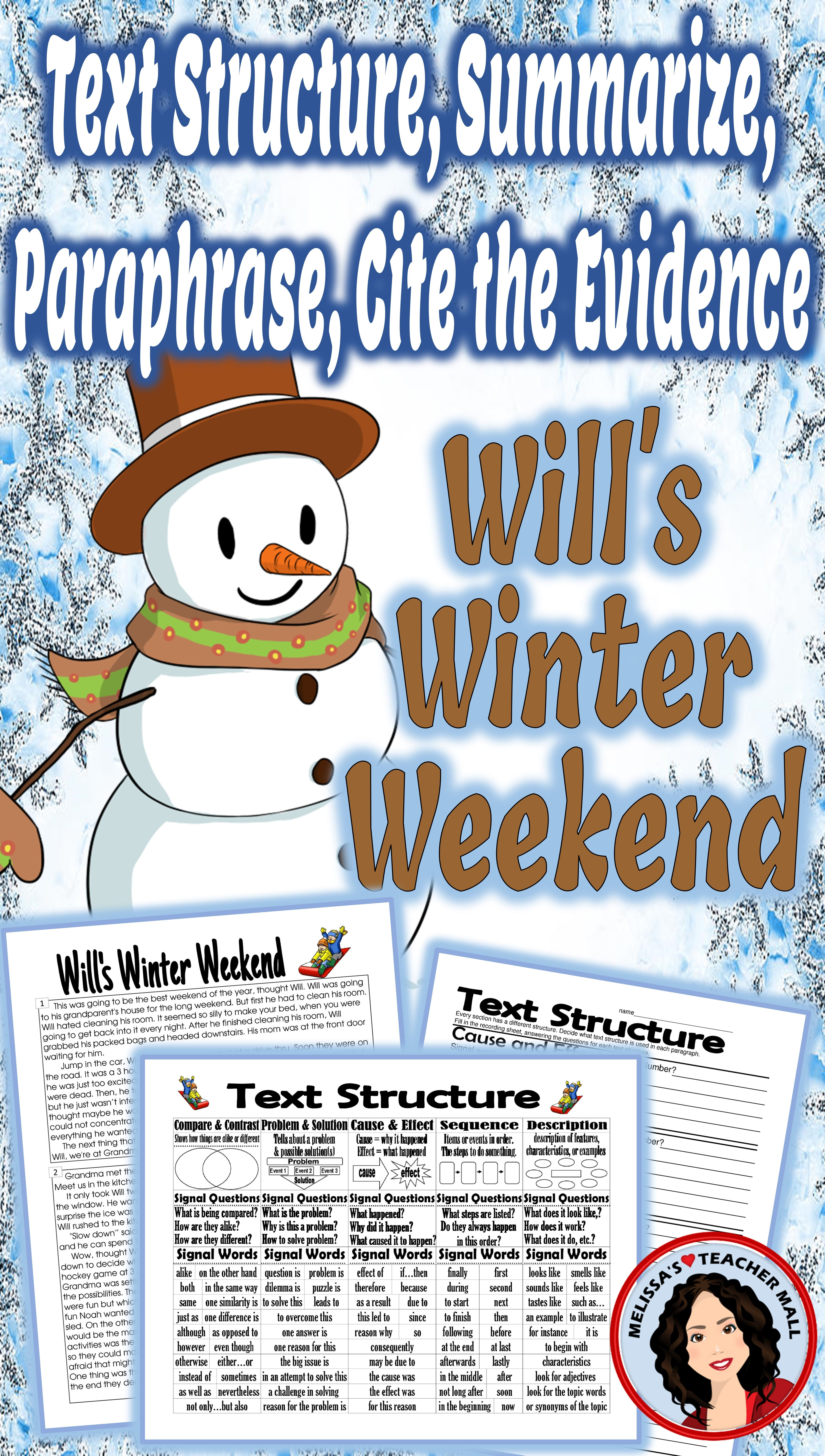 Text Structure Summarize Paraphrase Cite The Evidence Activity Will S Winter