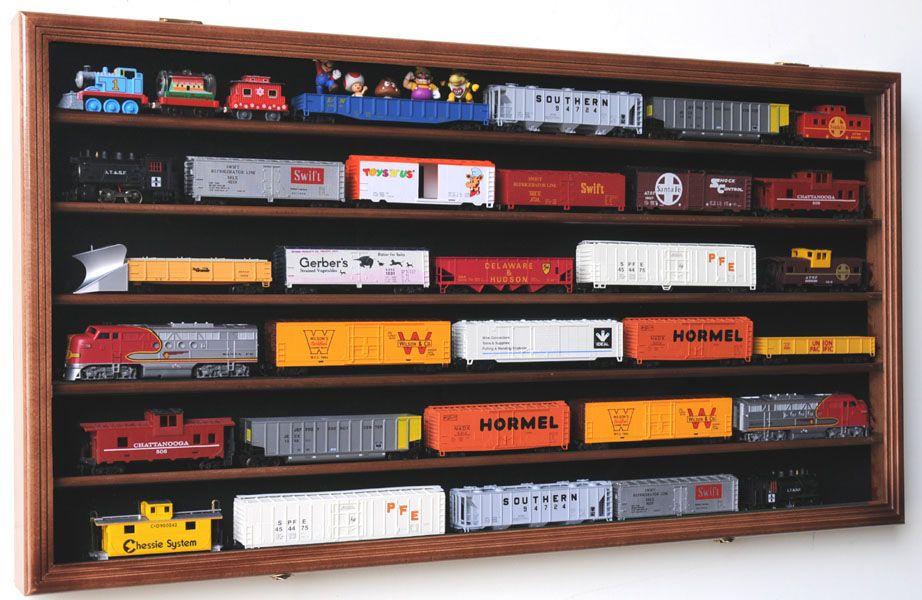 Model Train Racks : Ho scale model train display case cabinet wall rack