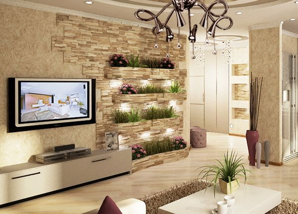 Merveilleux 5 Living Modern Cu Perete Placat Partial Cu Piatra Decorativa Tv Unit,  Drywall,