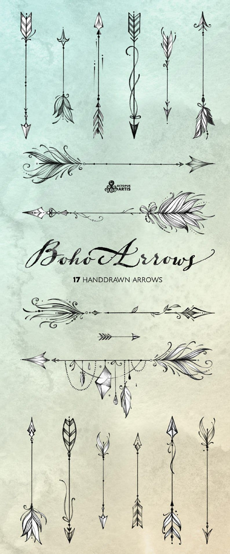 Boho Arrows. 17 hand drawn Clipart. Tribal, native diy elements, logo, invitation, pencil, transparent, digital png, style, tattoo, romantic