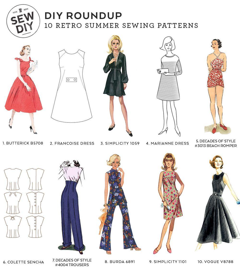 10 Retro Sewing Patterns – Sew DIY | DIY style | Pinterest | Costura ...
