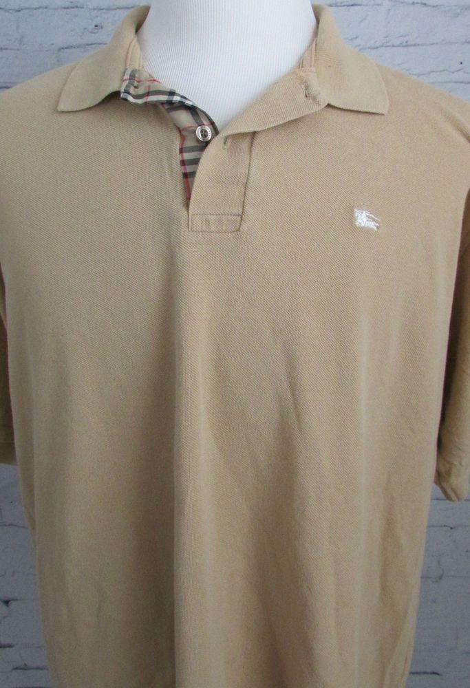 Men S Burberry London Tan Polo Shirt Metal Horse Knight Logo Size