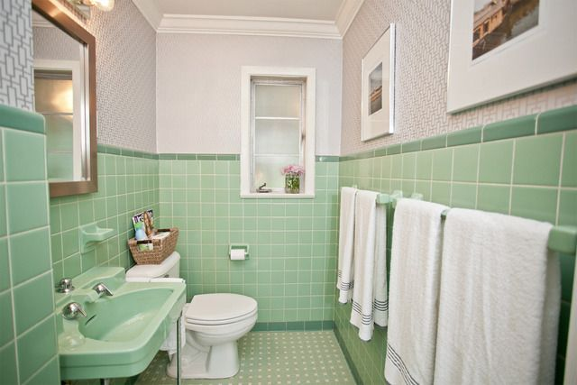 Harper Caleb S Sophisticated Southern Gem House Tour Green Bathroom Green Tile Bathroom Mint Green Bathrooms