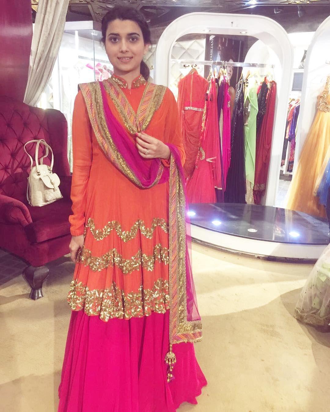 a line kali daar long kurta w sharara/lengha orange pink | fav ...