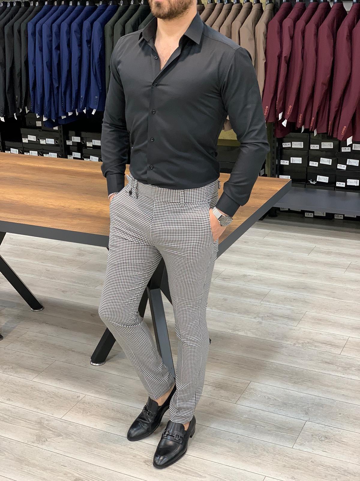 Ferrar Black White Plaid Pants Slim Fit Shirt Slim Fit Pants Men Slim Fit Pants [ 1600 x 1200 Pixel ]